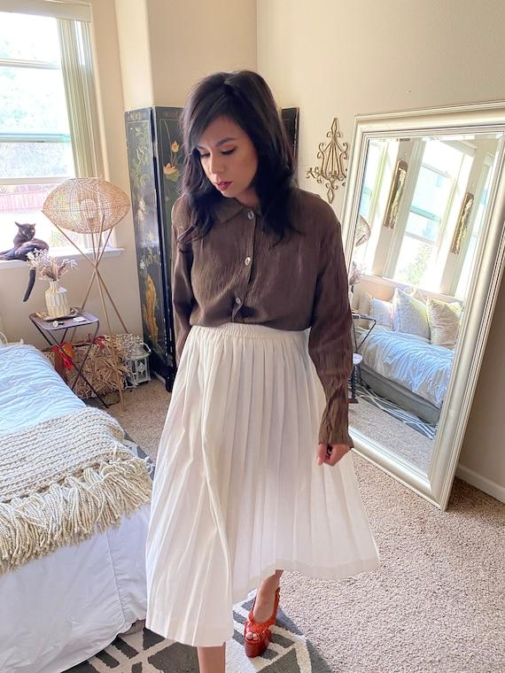 Pleated White Cotton Pleated Skirt- Midi - image 7