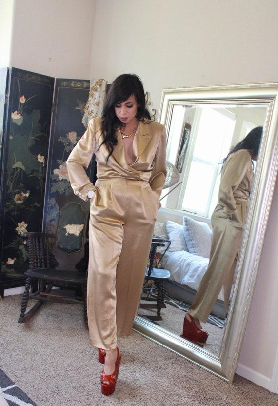 Gold Satin- Working Woman Empire Waist Jumpsuit