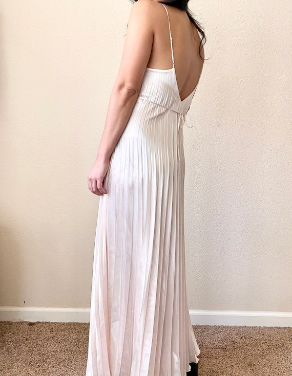 Vintage Pleated Silk Slip Dress
