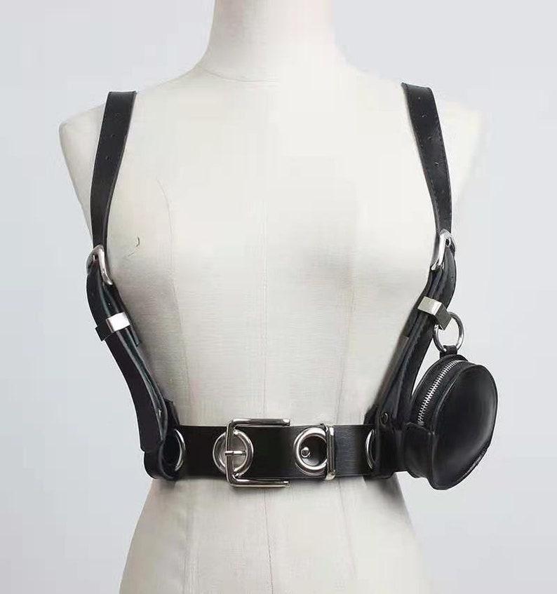 women waist strap,black leather vest,locomotive harness,punk belt,waistband,waist belt bag,lather camisole,hollow out belt bag,performance