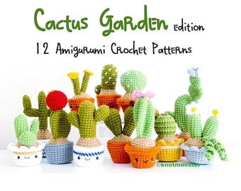 12 Crochet Mini Cactus Garden Patterns! EBOOK PDF KnotMonsters Amigurumi Crochet Patterns Beginner Easy Simple Basic Plant Cacti Project Lot