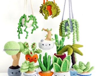 12 Crochet Potted Plant Patterns! EBOOK PDF KnotMonsters Amigurumi Crochet Patterns Beginner Easy Simple Basic Tree Succulent Bonsai Pot