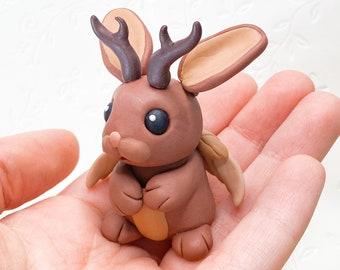 Mystical Jackalope Desk Pet | Handmade Cute Mini Polymer Clay Figurine Gift Wolpertinger
