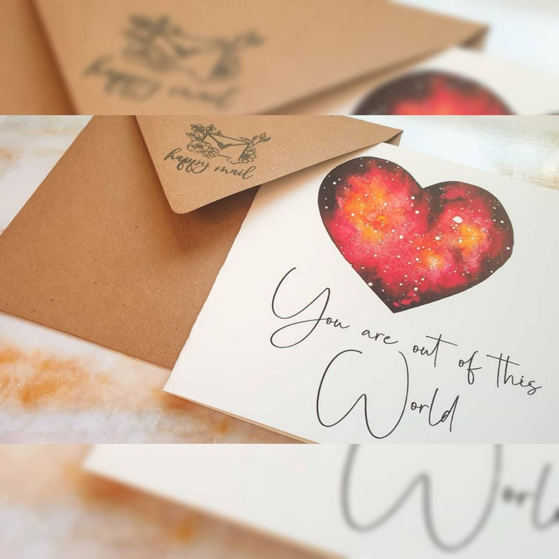 You are out of this world galaxy heart- watercolour illustration- greeting card A6 Square love card valentines card