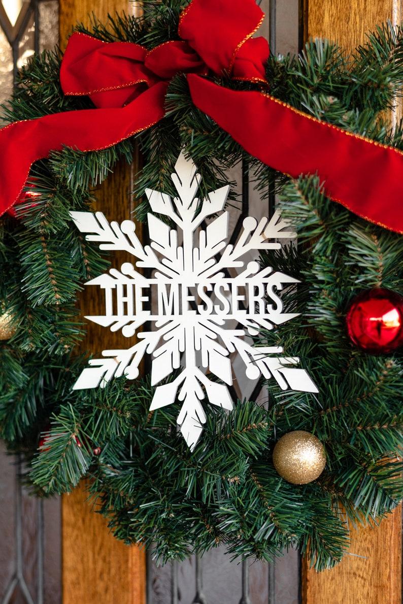 Snowflake Monogram Christmas Wreath Topper Snowflake Monogram Sign Christmas Wreath Christmas Monogram Sign Christmas Decor