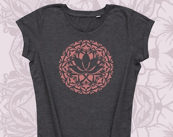 Hand-printed yoga shirt with stylized lotus flower.
