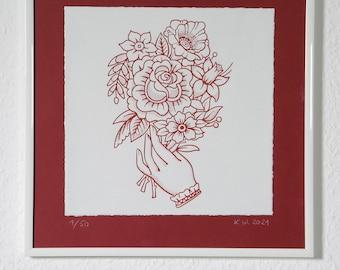 Screen printing | Art print| Flower graphics