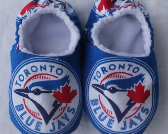 Blue Jays Baby Shoes, Baby Girl/Boy Shoes, Moccasins, Slippers, Booties, Canadian Made, Made to Order