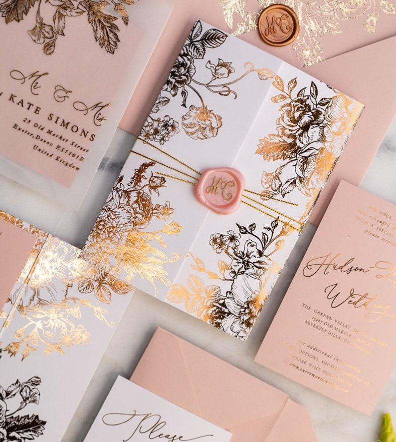 vellum wedding invitation gold foil wedding invitation