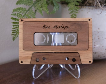 Modern Mixtape with QR / Spotify Code | Custom Wooden Gift with Personalized Playlist | Wedding, Anniversary, Birthday Gift for Music Lovers