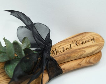 Customizable Olive Wood Cheese Board and Cheese Knife