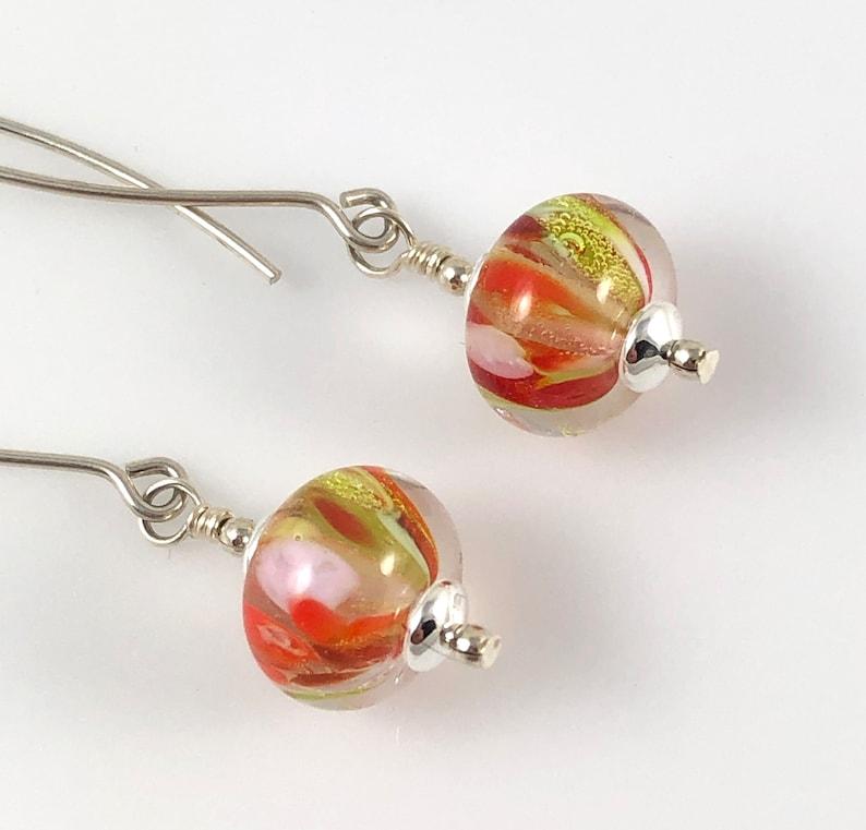 Lampworked Glass Bead Drop Earrings
