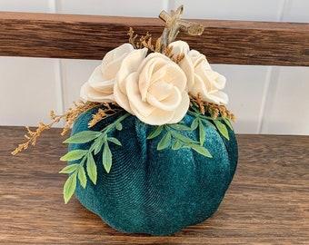 Teal Pumpkin Fall Decor, Velvet Pumpkin Set, Pumpkin with Flowers, Fall Table Centerpiece, Pumpkin Flower Centerpiece
