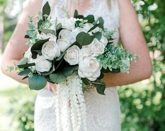 Peony Wedding Bouquet, Greenery Bridal Bouquet, Peony and Rose Wedding Bouquet, White Rose Bridal Bouquet, White and Green Wedding Bouquet