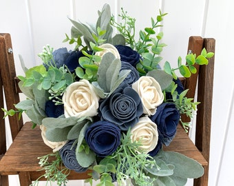 Navy and Dusty Blue Bouquet, Bridal Bouquet Navy Blue,  Wooden Flower Bouquet Wedding, White and Blue Wedding, Boho Wedding Flower Bouquet