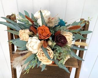 Boho Bridal Bouquet, Orange, Burgundy, Teal, Peach, Ivory, Burnt Orange Bridal Bouquet, Boho Bouquet for Brides, Fall Bridal Bouquet Fake