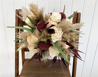 Wood Flower Bouquet Boho, Burgundy and Ivory Bouquet, Wood Flowers Bridal Bouquet Burgundy, Pampas Grass Bouquet Eucalyptus Bouquet