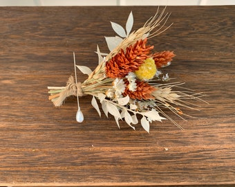 Fall Boutonniere, Dried Flower Boutonniere, Lapel Pin, October Wedding, Rustic Boutonniere, Boutineer, Wheat Boutonniere, Rustic Wedding