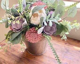Mother's Day Flowers, Purple and Pink Flowers, Flower Gift for Mom, Spring Flower Arrangements Centerpiece, Flower Arrangement Farmhouse