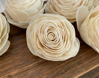 """Sola Wood Roses Loose, 3"""" Sola Wood Flowers, American Beauty, New Beauty Rose for Crafting, Weddings, Cake Flowers"""