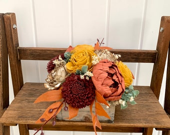 Fall Floral Arrangement for Mantle, Burgundy, Rust, Mustard Yellow, Ivory, Bark Flowers, Wood Flowers Boxes, Flower Box for Window