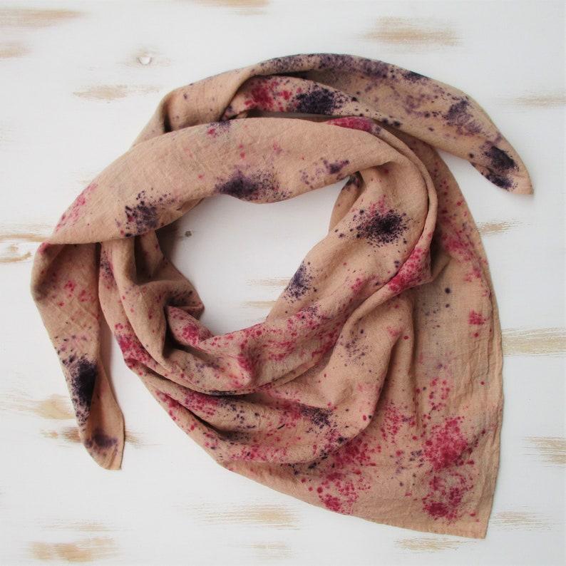 sustainable woman gift. organic cotton bandana Botanical dyes Bandana naturally dyed boho cotton bandana Cotton bandana plant dyes