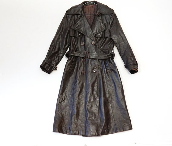Vintage 80's Womens LEATHER TRENCHCOAT JACKET Long