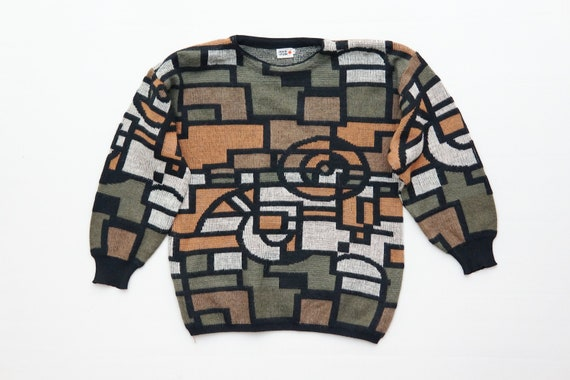 vintage 80s geo shapes cap sleeve pullover sweater in black and tan size S-M