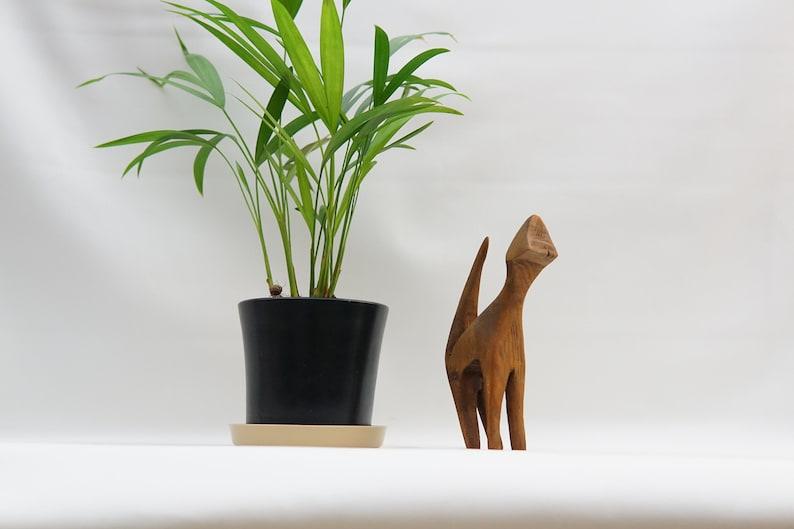 Mid-Century Modern WOODEN CAT SCULPTURE Handmade Figurine Rustical 60s 70s 80s Dannish Style Figure Cat Lover Decorative Object Gift mcm