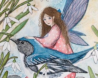 "The Snowdrop Fairy  - Mini Art Print - 5""x7"" - 100% Recycled"