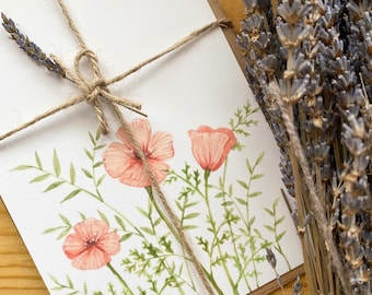 """Pink Poppies - Mini Art Print and envelope - 5""""x7"""" - 100% Recycled"""