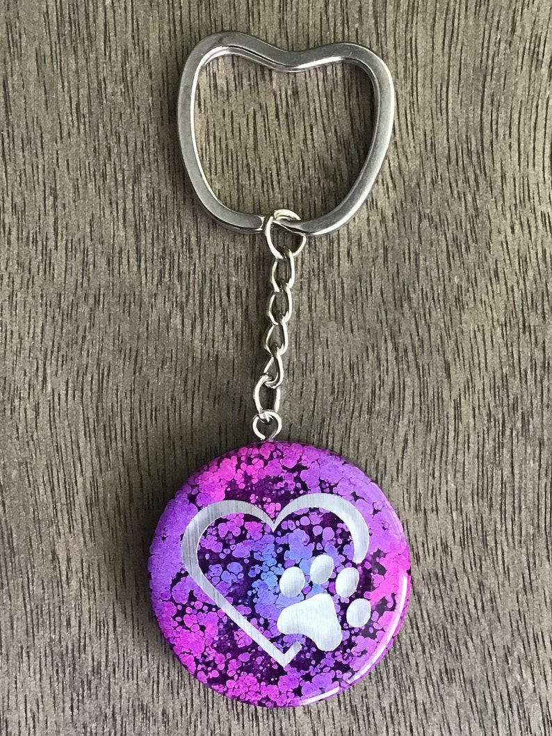 pink and purple alcohol ink HEART WITH PAW Silver foil matte vinyl resin keychain round with shaped key ring