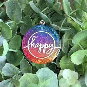 round with shaped key ring green and purple alcohol ink Silver foil matte vinyl CUTE resin keychain
