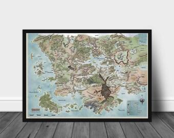 Dungeons & Dragons, Poster, Forgotten Realms Map, Map of Fearun, Map Poster, Dungeons And Dragons, D and D, Wall Art, Wall Decor, Gift