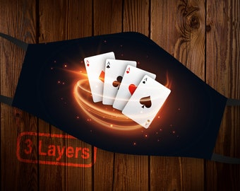 3 Layers Poker Cards Face Mask, Royal Flush Cards Mask Design, Ace Cards Fun Casino Mask, Reusable and Washable Face Mask w/ Filter Pocket