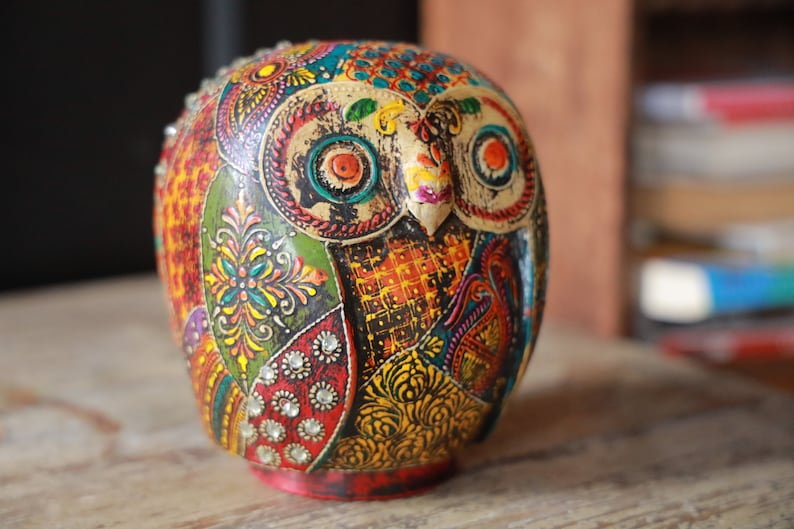 Home Decor Table Top Animal Statue Home Office Wooden Owl Piggy Bank Figurine Money Box Kids Gift 31045 Gift for bird lovers