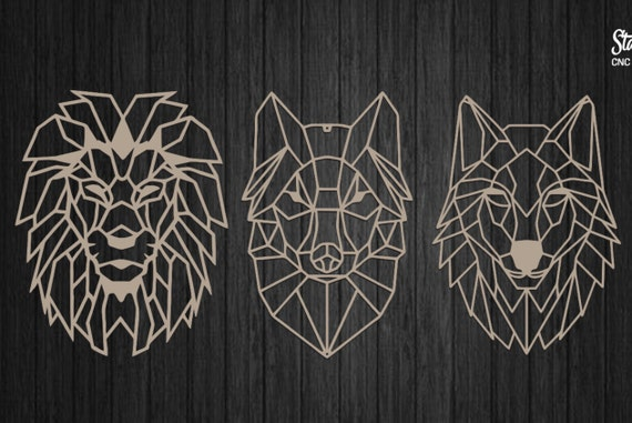 geometric animals wolf and lion vector files for laser cut | etsy  etsy