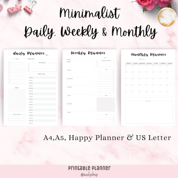 Minimalist Daily Weekly Monthly Planner. Classic Happy Big