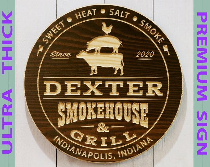 Premium Personalized Smokehouse And Grill Sign