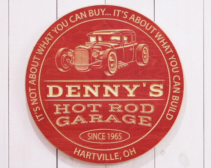 Personalized Garage Sign With Hot Rod