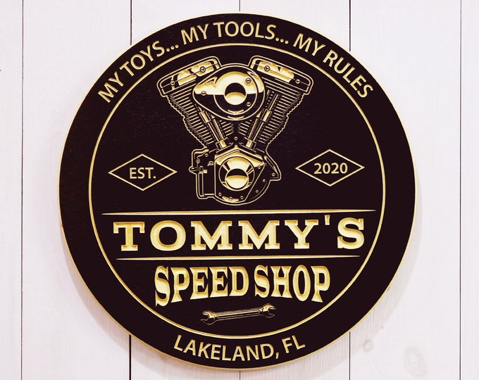 Personalized Speed Shop Garage Sign