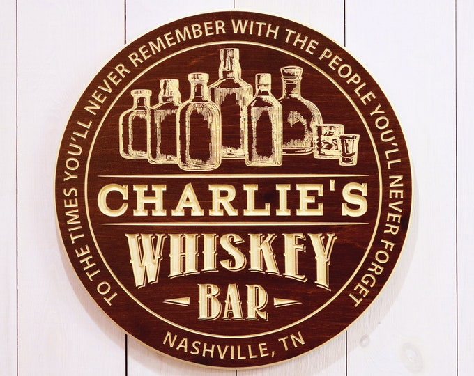 Personalized Whiskey Bar Sign With Bottles