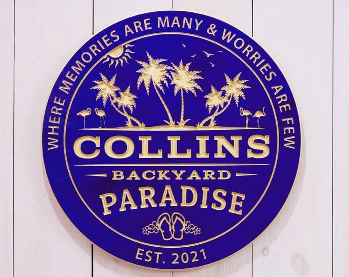 Personalized Backyard Paradise Sign