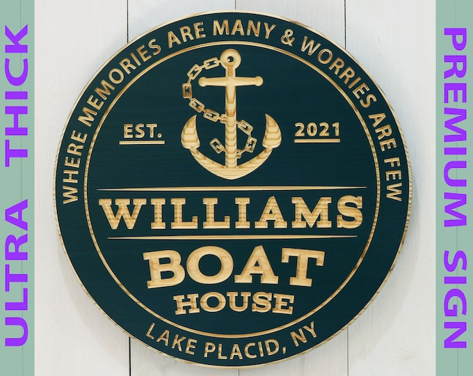 Premium Personalized Boat House Sign