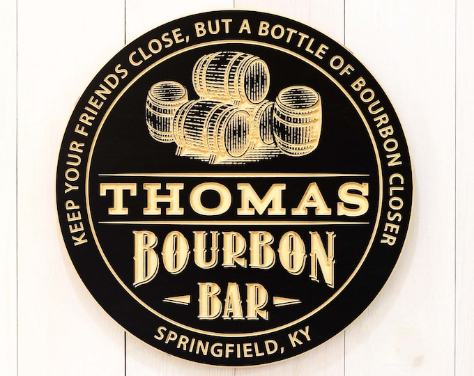 Personalized Bourbon Bar With Barrels Sign