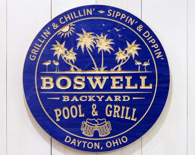 Personalized Backyard Pool And Grill Sign