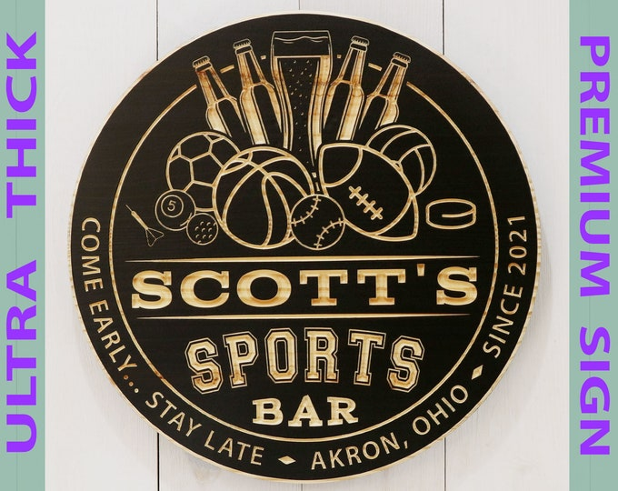 Premium Personalized Sports Bar Sign