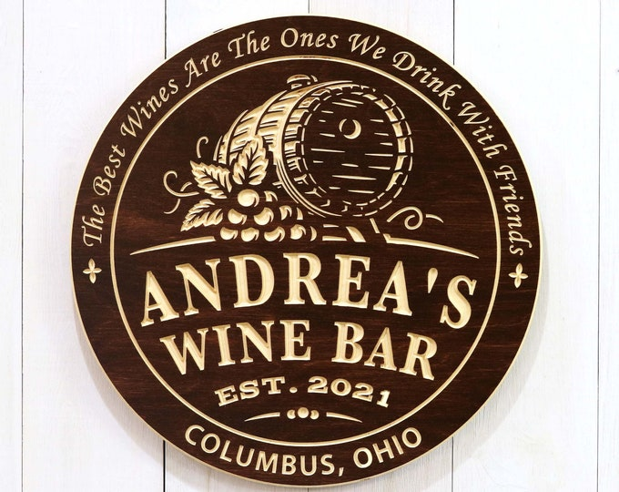 Personalized Wine Bar With Barrel Sign