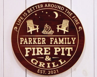 Personalized Camp Fire Pit Sign