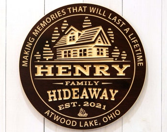 Personalized Hideaway Cabin Sign